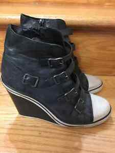 Women's Ash 'Thelma Ter' Wedge Sneaker in Black Leather, SZ 37