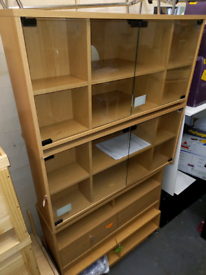 TV stand with storage glass doors only £45 each. RBW assembled Clearan
