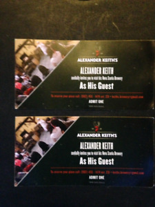 2 Tickets to NS Alexander Keith's Brewery