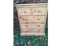 Quality solid waxed chest of pine drawers
