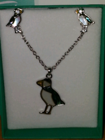 Tide jewellery puffin earrings and necklace set
