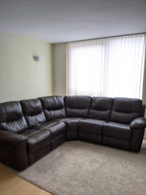 Brown Leather Sofa - Recliner
