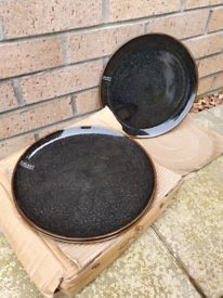 4x Stunning Brand New Black Dinner Plates Stone with Galaxy Design and Bowls