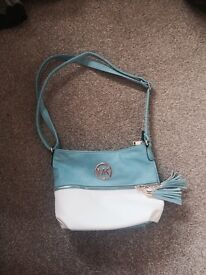 Blue and white mk bag