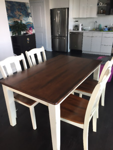 Beautiful Solid Dark HardWood Table with Chairs