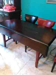 NEW PRICE!!!  Hardwood table and six leather chairs St. John's Newfoundland image 4