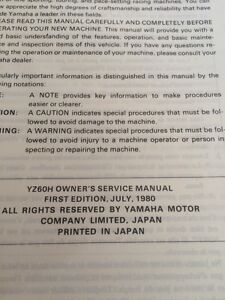 1981 Yamaha YZ60H Owners Service Manual Regina Regina Area image 2