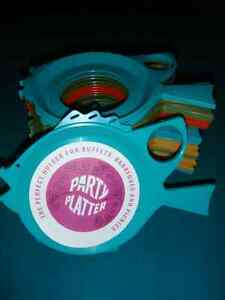 Vintage Plastic Picnic Party Platters for Plate and Cup