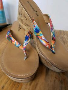 Wedge sandals never worn