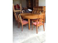 Vintage retro Nathan ext table and 6 chairs