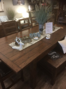 Large Rustic Reclaim Solid wood Extending Table, 4chairs, bench