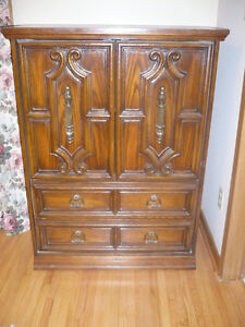 armoire and 2 bed side tables, blanket box
