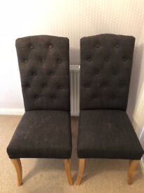 Next upholstered charcoal and oak dining chairs two