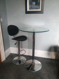 Barker and Stonehouse glass table and adjustable bar stool