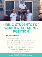 SUMMER CLEANING POSITION FOR STUDENTS IN WEST ISLAND!