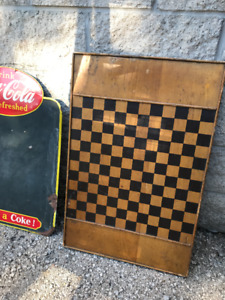 ANTIQUE HEAVY ALL WOOD HAND PAINTED GAME BOARD CHESS CHECKERS