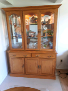 Oak Buffet, Hutch, and Curio Cabinet