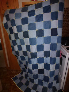 Handmade denim twin quilt