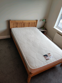 Small Double slatted wooden bed frame and Mattress