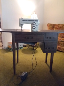 Sewing Machine with cabinet and chair