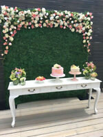 Boxwood Green Flower / Floral Wall Backdrop for Rent
