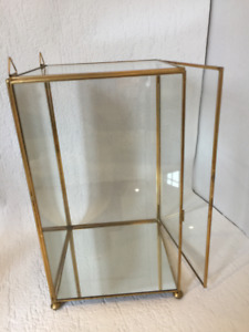 "Collectible Glass Display Case 12"" Brass Mirror Wall"