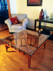 Modern Glass and Wood Coffee Table and two End Tables
