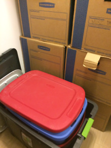 Boxes and Plastic Bins for Moving