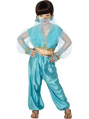 Arabische Prinzessin Kostüm enthält Hose Oberteil und Kopfbedeckung Gr. - Blau Arabischen Prinzessin Kostüm