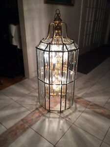 Vintage, Very Large Brass / Glass Floral Chandelier (Reduced $$)