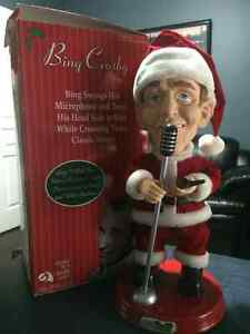 Bing Crosby Moving Singing Santa Christmas Doll, Gemmy Pop Cultu