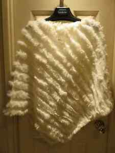 Rabbit Fur & Knit Poncho - Black or Brown or White or Turquois