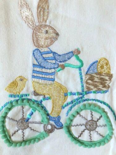 NICOLE MILLER HOME Kitchen Towels Set 2 Bunny Bike Polka Dot