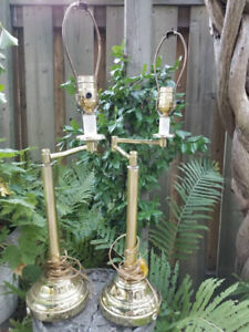 Vintage Brass Swing Arm Table Lamps , Adjustable Lamps