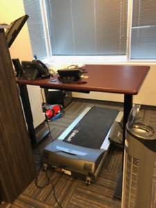 Electric stand-up sit-down desk with treadmill