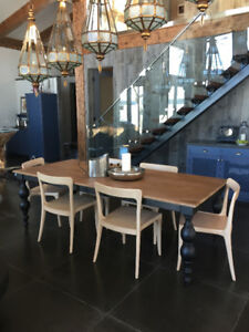 Gorgeous Mango Wood Dining Table With Cast Iron Base and Legs