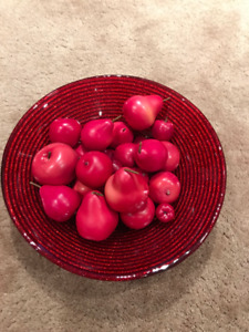 Red Glass Bowl with Red Fruit