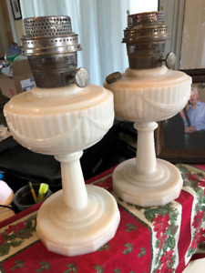 2 VINTAGE ALADDIN TALL LINCOLN DRAPE ALACITE OIL LAMPS