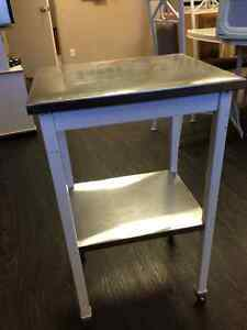 retro stainless steel rolling cart