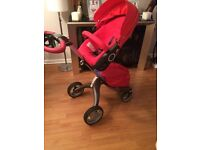 Stokke Xplory v4 with all extras in red