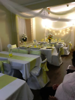 White Chair Back Covers, White Table Cloth For Rent.
