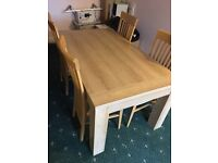 6 seater oak dining table