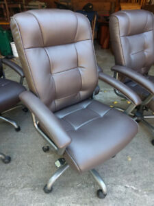BRONZE FAUX LEATHER OFFICE CHAIRS $75 EACH. LIKE NEW!