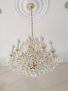 Crystal chandelier and matching wall sconces