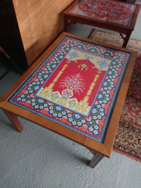Vintage Coffee Table with Tapestry Detailing under glass