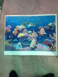 2 completed puzzles - dog & underwater sea (already glued) $5 Cambridge Kitchener Area image 2