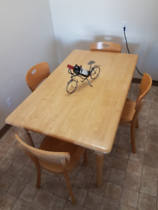 Wooden Dining Table and 4 Chairs - Good Condition