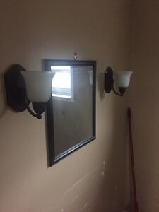 Wall lights and mirror