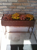 Rectangular Wicker Plant Stand with Metal Insert