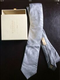 Tie by T.M.Lewin Silk Wedding Collection - silver